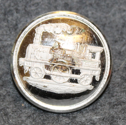 Lokomotiv, Locomotive, Old steam era railway button. 23mm, stain