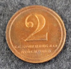 Upplands Regimente I.8. Manskapsmässen, Swedish military mess token, 2