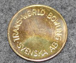 Trans World Bowling Svenska AB, bowling token.