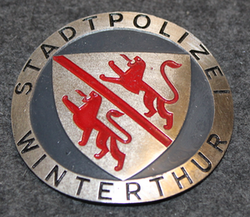 Swiss Police. Stadtpolizei Winterthur, helmet badge. Small