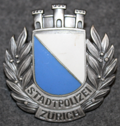Swiss Police. Stadtpolizei Zürich, helmet badge. Small