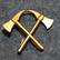 Olkamerkki / satiainen, sveitsin palokunnat, Palokirveet ristissä, kullattu