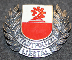 Swiss Police, helmet badge, Stadtpolizei Liestal