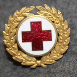Svenska Röda Korset,Swedish Red Cross, badge w/ wreath, gilt