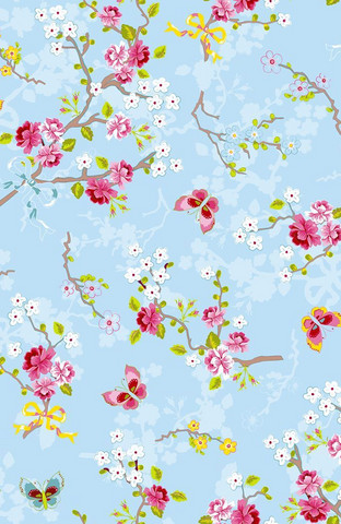Tapetti 375071 Chinese Rose Blue, vaaleansininen