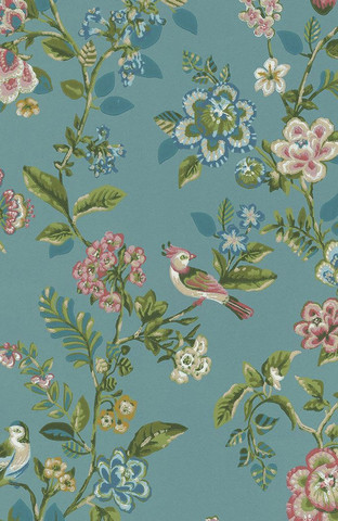 Tapetti 375062 Botanical Print, Sea blue, merensininen