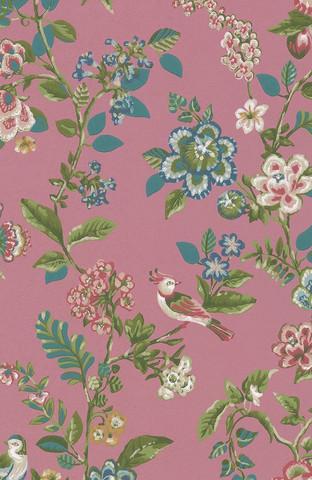 Tapetti 375064, Botanical Print Dark pink, tumma roosa