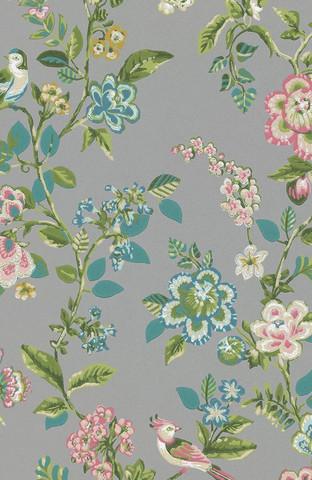 Tapetti 375065 Botanical Print Grey, harmaa
