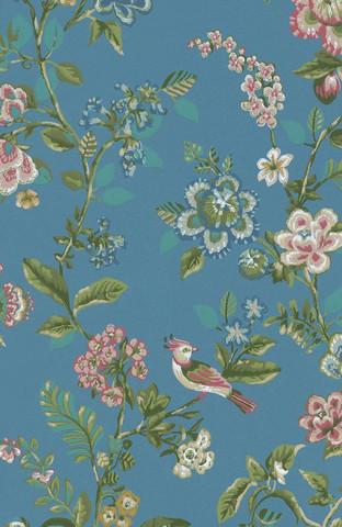 Tapetti 375066 Botanical Print Bright blue, sininen