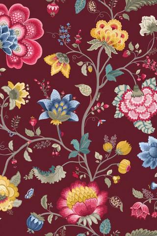Tapetti 341033 Floral Fantasy Burgundy, punaruskea