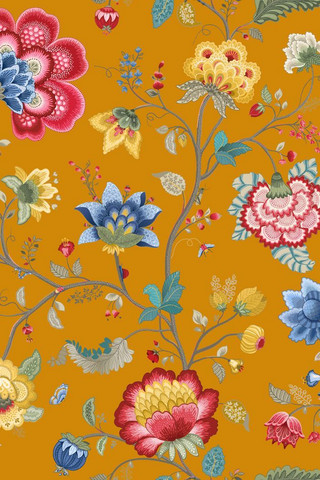 Tapetti 341037 Floral Fantasy Yellow, keltainen