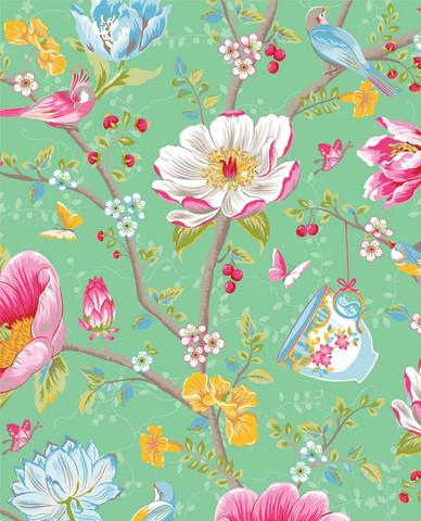 Tapetti 341005 Chinese Garden Green, vaaleanvihreä