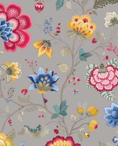 Tapetti 341039 Floral Fantasy Light Taupe, vaaleanharmaa