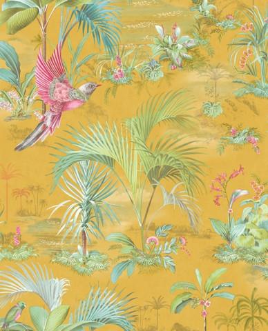 Tapetti 300143 Palm Scene Yellow, keltainen