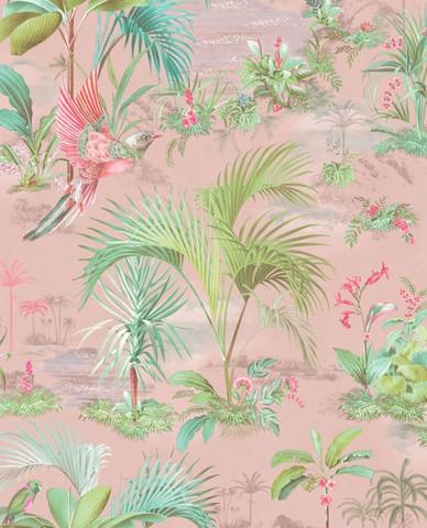 Tapetti 300141 Palm Scene Pink, vaaleanpunainen