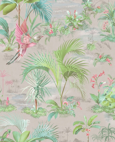 Tapetti 300142 Palm Scene Grey, harmaa