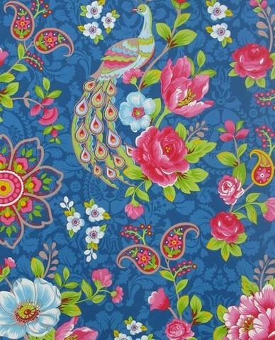 Tapetti 313054 Flowers In the Mix Light Dark Blue, tummansininen 1m
