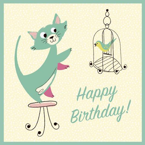 Kissa-aiheinen syntymäpäiväkortti