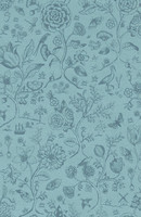 Tapetti 375012 Spring to life two tone Sea blue, merensininen