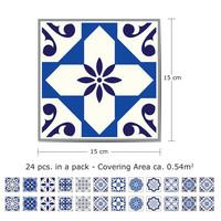 Kaakelitarra 15x15 cm,  Marokkolaistyyliset siniset kuviot WT1501