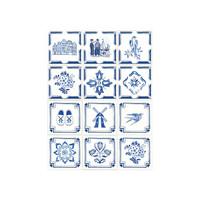 Kaakelitarra 15x15 cm,  Hollantilaistyyliset siniset kuviot WT1528