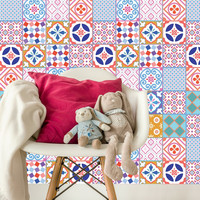 Kaakelitarra 15x15 cm,  Värikkäät marokkolaistyyliset tarrat WR1538