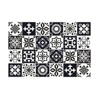 Kaakelitarra 15x15 cm, Musta-valkoinen WT1560