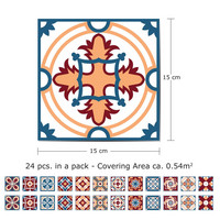 Kaakelitarra 15x15 cm, Sini-oranssi-punainen WT1505