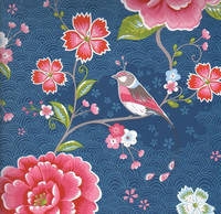 Tapetti 313015 Birds in Paradise Blue, tummansininen