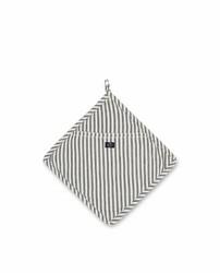 Pannulappu Herringbone Striped Mitten - Musta/Valkoinen