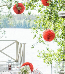 Paperikennopallo 30cm Punainen