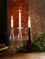 Kynttilänpidike Pulloon, Antiikkiruskea