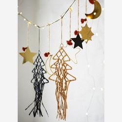 Joulukuusi-koriste, Raffia, Musta