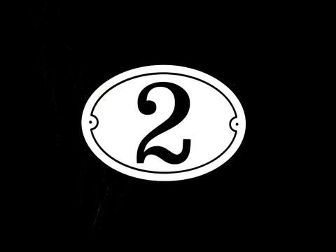 Numerokyltti yksi numero ovaali reunuksella