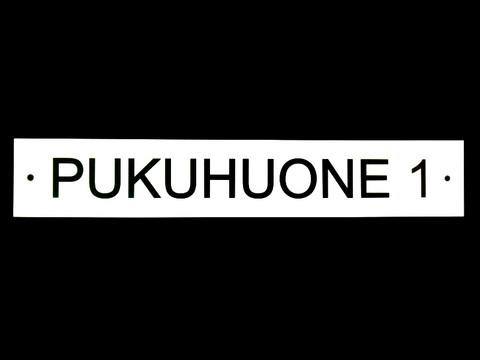 PUKUHUONE 1-kilpi