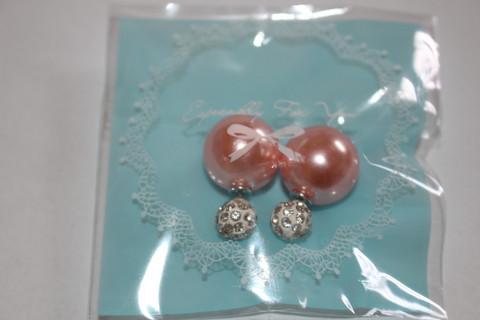 BB-korvakorut, vaalean persikka/punainen, kivikoristeinen