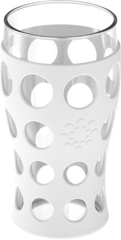 valkoinen 4x 600ml juomalasi silikonisuojuksella