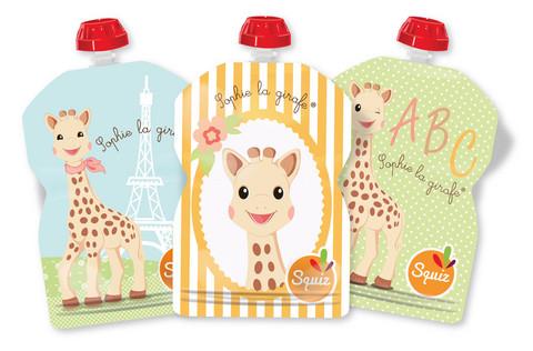 Squiz Sophie la girafe, Uudelleen täytettävä lastenruokapussi 90ml, 3 kpl pakkaus