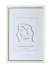 Aava 15x20 Valokuvakehys, valkoinen kultaviivalla