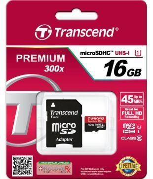 Transcend 16GB premium 300x micro SDHC UHS-I