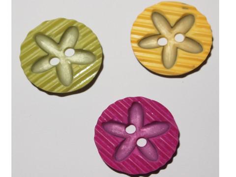 Raidallinen kukkanappi, keltainen, 0043