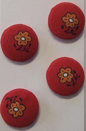 Kukkanapit (punainen pohja, oranssi kukka)