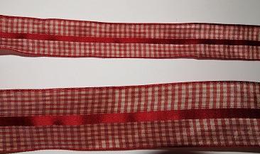 Ruutunauha, Puna/beige rautalangalla, 11003