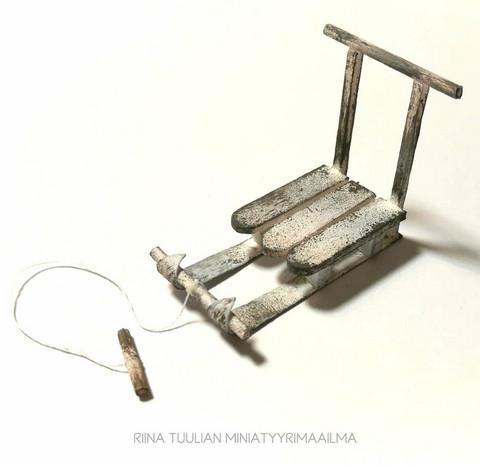 Miniatyyri Kelkka - Vintage valkoinen