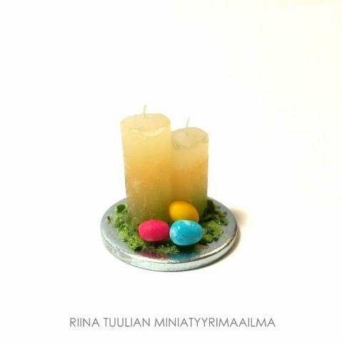 Nukkekodin Pääsiäiskynttilät (koristeasetelma)